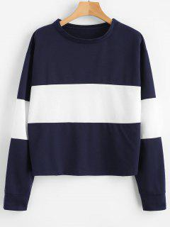 Color Block Drop Shoulder Casual Sweatshirt - Cadetblue M
