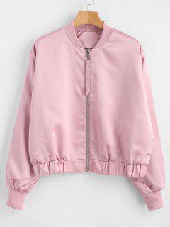 Drop Schulter Zipper Jacke - Pink