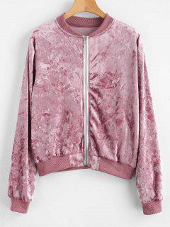 Zip Up Crushed Velvet Bomberjacke - Lippenstift Rosa L