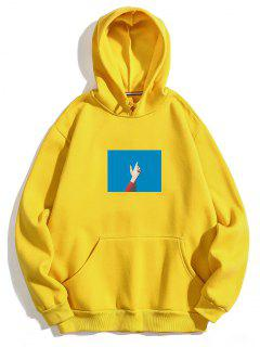 Hand Print Casual Fleece Hoodie - Yellow S