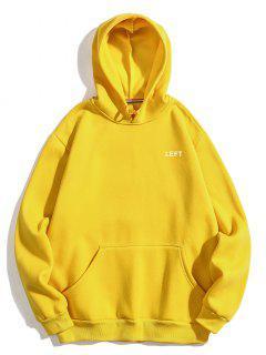 Left Print Pullover Fleece Hoodie - Yellow M