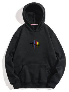 Chest Graphic Fleece Hoodie - Black M