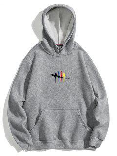 Chest Graphic Fleece Hoodie - Gray Xl