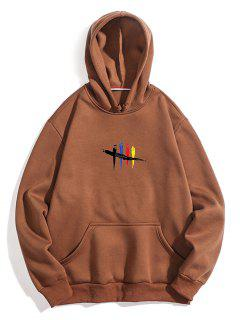 Chest Graphic Fleece Hoodie - Coffee L