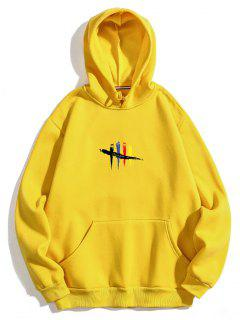 Chest Graphic Fleece Hoodie - Yellow L