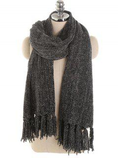 Solid Color Fringed Warm Long Scarf - Black