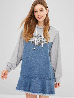 Robe à Capuche En Denim Graphique à Ourlets Bruts - Multi S