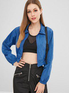 Buckled Strap Light Cropped Jacket - Blue L