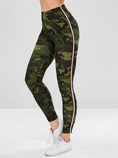 Stripe Contrast Camouflage Leggings - Woodland Camouflage L