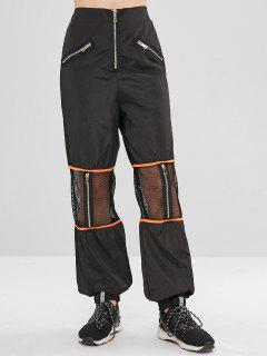 Zippered Mesh Panel Jogger Pants - Black L