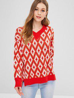 Suéter Geométrico Alto Bajo Cuello En V - Multicolor
