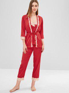 Ensemble De Pyjama De Nuit En Satin à Ourlet En Dentelle - Rouge Lave M