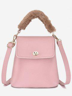 Hasp Design Fluffy Bucket Tote Bag - Light Pink