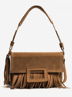Suede Tassel Design Handbag - Dark Khaki