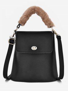Hasp Design Fluffy Bucket Tote Bag - Black