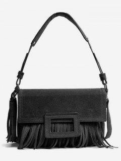 Suede Tassel Design Handbag - Black