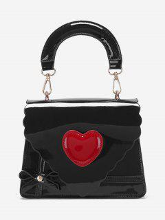 Patent Leather Heart Design Handbag - Black