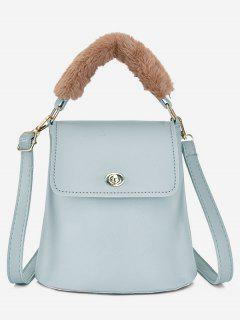 Hasp Design Fluffy Bucket Tote Bag - Pale Blue Lily