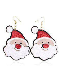 Christmas Santa Pattern Hook Earrings - Multi