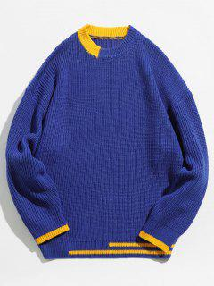 Color Block Stripe Knitted Sweater - Blue S