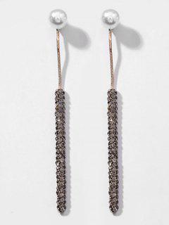 Faux Pearl Decoration Long Drop Earrings - Black