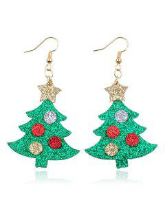 Christmas Tree Printed And Star Earrings - Multi
