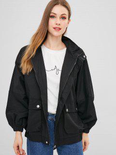 Hooded Batwing Zipper Jacket - Black