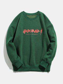 Round Print Round Neck Sweatshirt - Deep Green L