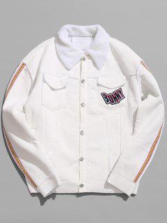 Turn Down Collar Graphic Sherpa Jacket - White 2xl