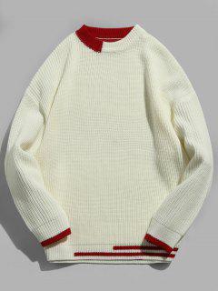 Suéter De Punto Color Block A Rayas - Blanco L