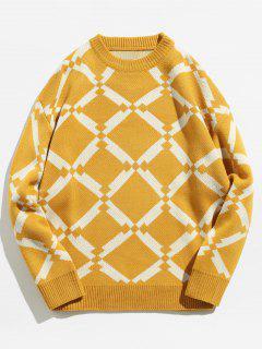 Suéter De Punto Geométrico - Amarillo M
