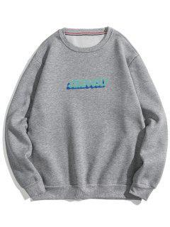 Letter Print Soft Fleece Sweatshirt - Gray Xs