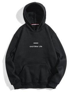 Letter Soft Fleece Hoodie - Black Xl