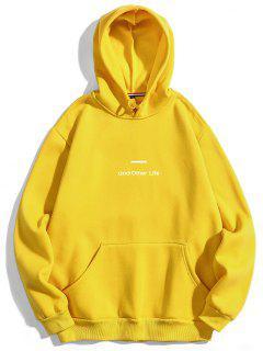 Letter Soft Fleece Hoodie - Yellow S
