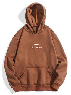 Letter Soft Fleece Hoodie - Coffee M