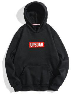 Graphic Pullover Fleece Hoodie - Black M