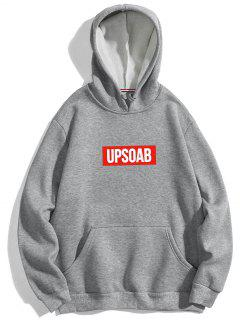 Graphic Pullover Fleece Hoodie - Gray L