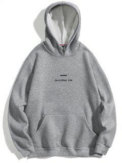 Buchstabe-weicher FleeceHoodie - Grau Xs