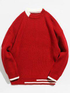 Suéter De Punto Color Block A Rayas - Rojo L