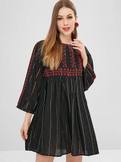 Embroidered Striped Mini Smock Dress - Black S