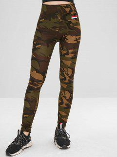 Stripes Patched Camo Skinny Pants - Woodland Camouflage M