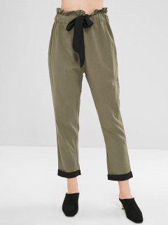 Pantalones Cónicos De Cintura Alta Con Cordón De Gasa - Caqui L