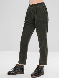 Pantalon Crayon En Velours Côtelé Avec Poche - Vert Foncé S