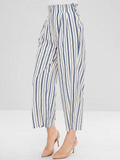 Stripes Ninth Wide Leg Pants - White M