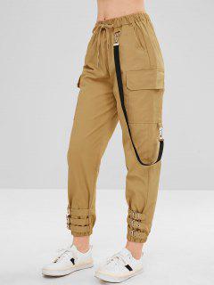 Belt Embellished Drawstring Pants - Cookie Brown L