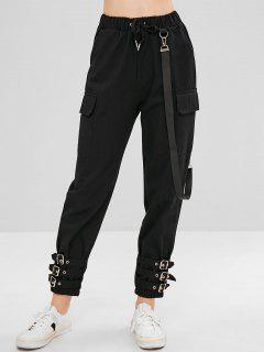 Belt Embellished Drawstring Pants - Black L