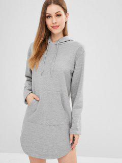 Hooded Mini Shift Dress With Pocket - Gray M