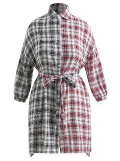 Plaid High Low Pailletten Plus Size Kleid - Multi 3x