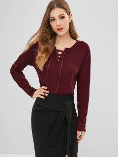 Crisscross Lace Up Long Sleeve T-Shirt - Red Wine S