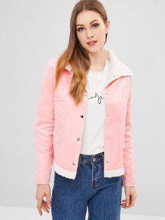 Faux Wildleder Boxy Pocket Jacke - Pink L